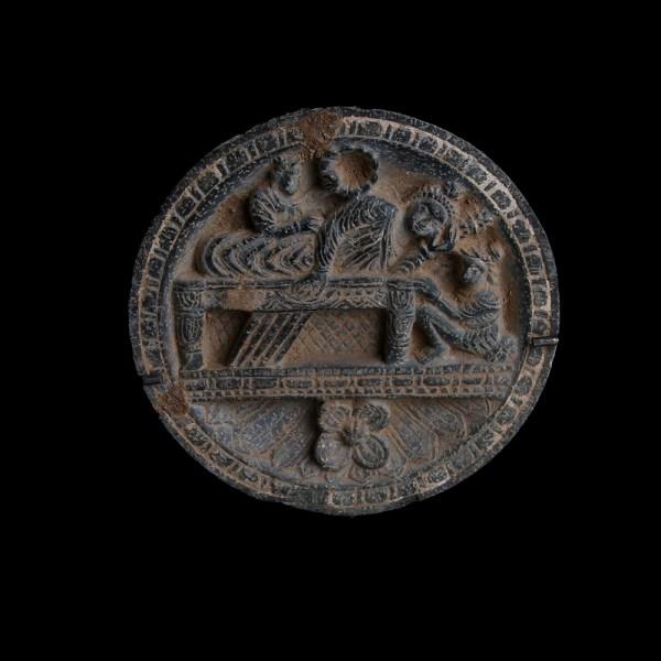 Gandharan Schist Palette with Banquet Scene