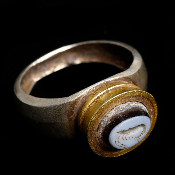 Ancient Greek Electrum and Gold Ring with Astakos Intaglio