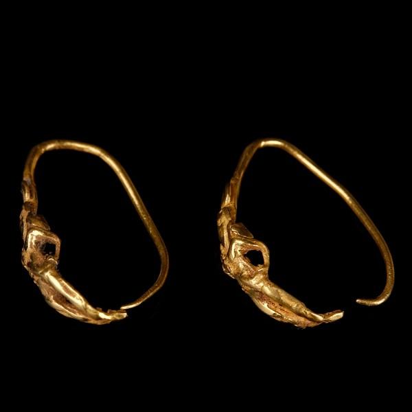 Greek Hellenistic Earrings with Eros
