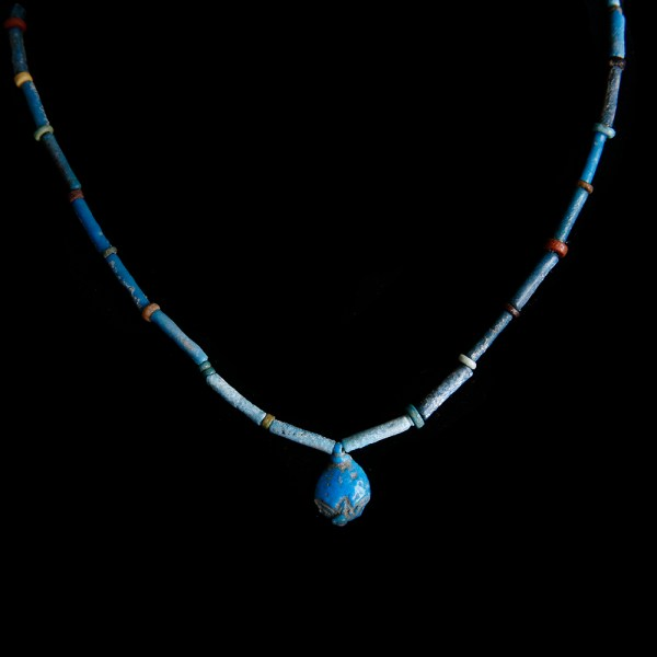 Egyptian Necklace with Faience Beads and Mandrake Amulet
