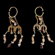 Elaborate Ancient  Roman Electrum Earrings with Glass, Pearls and Carnelian Beads