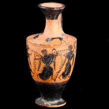 Attic Little Lion Class Lekythos with Dancing Maenades