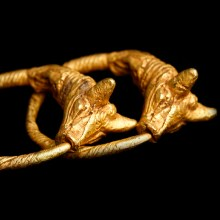 Greek Hellenistic Solid Gold Earrings with Bull Head Terminals