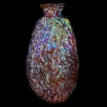 Date Shaped Aubergine Glass Unguentarium