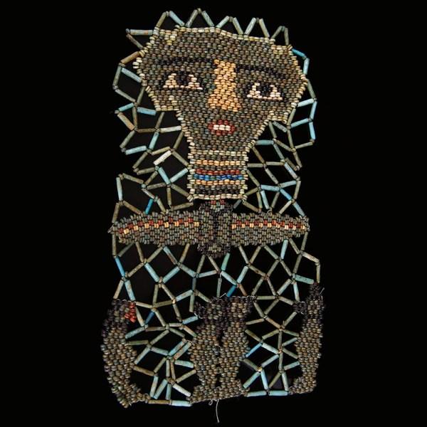 Elaborate Beaded Mummy Mask with Sons of Horus
