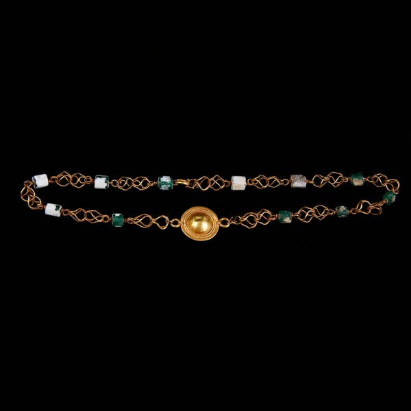 Superb Roman Gold and Glass Necklace