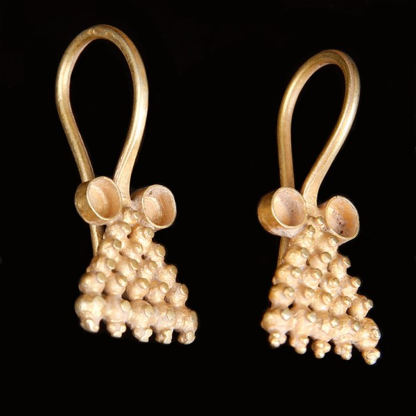 Matching Pair of Western Asiatic Earrings with Granulation
