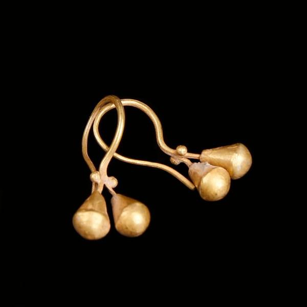 Western Asiatic Double Drop Golden Earrings