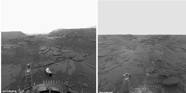 Images of the surface of Venus taken by the Soviet Venera-13 descent module in 1982