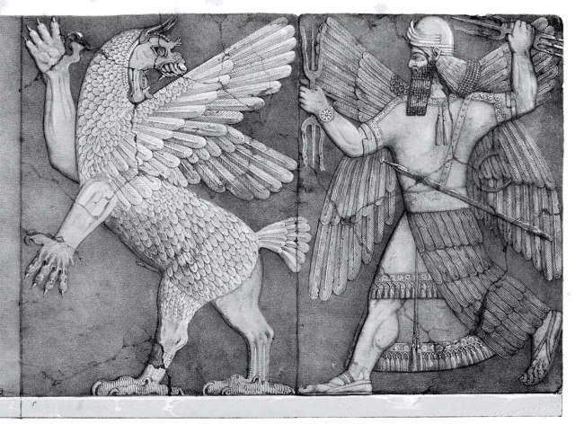 Black and white crop of full plate scan, from Austen Henry Layard's 'Monuments of Nineveh, Second Series' plate 19/83, London, J. Murray, 1853 Wikimedia commons
