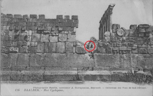 An old image of the megaliths at Baalbek in Lebanon.