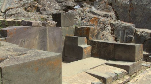 Carved stones at Ollantaytambo.