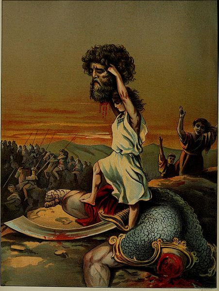 David uccide Golia. Immagine via Wikimedia
