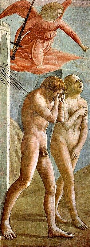 La expulsión de Adán y Eva del Paraíso terrenal (1426-1427), fresco obra del destacado artista renacentista Masaccio. El fresco se encuentra pintado sobre la pared de la Capilla Brancacci, en la iglesia de Santa María del Carmine de Florencia, Italia. (Public Domain)