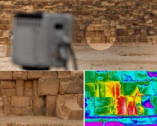 Anomalía térmica detectada a nivel del suelo en la cara este de la Gran Pirámide, también conocida como Khufu o Keops. Imágenes: Philippe Bourseiller / HIP Institute, Facultad de Ingeniería de El Cairo / Ministerio de Antigüedades.