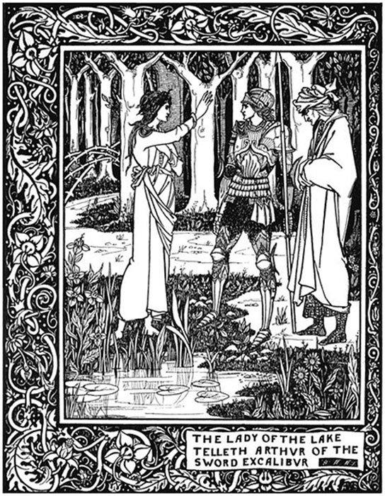 """""""Cómo Arturo, por medio de Merlín, consiguió su espada Excálibur de la Dama del Lago"""", ilustración para 'Le Morte d'Arthur'. (Lagad Zoltec/Dominio público)"""