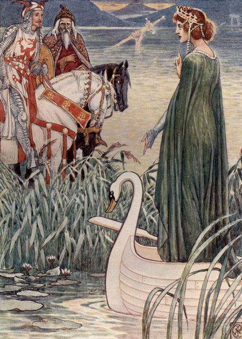 El rey Arturo pregunta a la Dama del Lago por la espada Excálibur, ilustración del artista inglés del siglo XIX Walter Crane. (Public Domain)