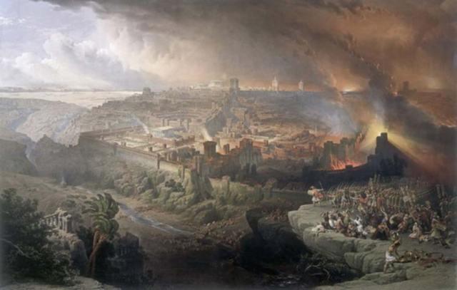 Asedio y destrucción de Jerusalén por los romanos bajo el mando de Tito, 70 d. C. Óleo de David Roberts, 1850 (Dominio público)
