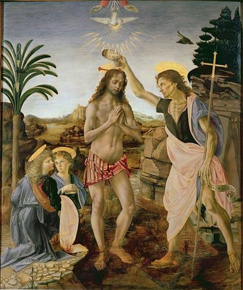Bautismo de Cristo (1475) Pintura de Leonardo da Vinci y Andrea del Verrocchio. Galería Uffizi (Public Domain)