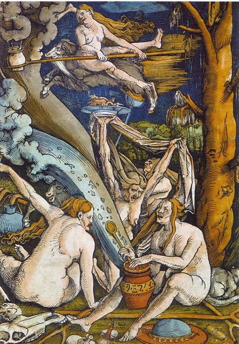 'Brujas', xilografía de Hans Baldung realizada en 1508 (Wikimedia Commons)