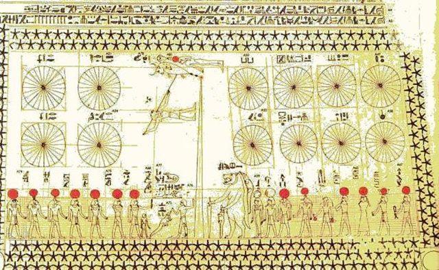 Sección inferior de la carta celeste que decora la tumba de Senenmut. (GNU General Public License)