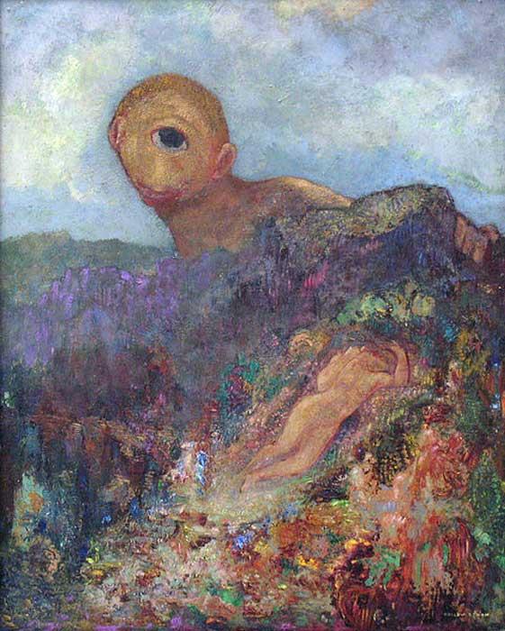 'El Cíclope', óleo de Odilon Redon, 1914. (Public Domain) Hesíodo escribió de los Cíclopes que eran odiados por su propio padre Urano, quien los mantenía ocultos por esta razón.