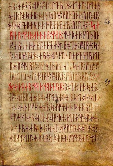 Codex runicus, manuscrito de vitela de principios del siglo XIV que contiene uno de los más antiguos y mejor conservados textos de la Ley de Escania, escrita enteramente en caracteres rúnicos. (Public Domain)