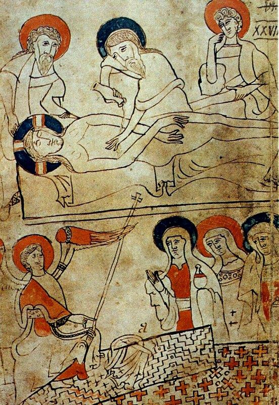 Ilustraciones del Códice Pray, manuscrito húngaro realizado entre los años 1192 y 1195 en el que supuestamente aparece representado el sudario.(Public Domain)