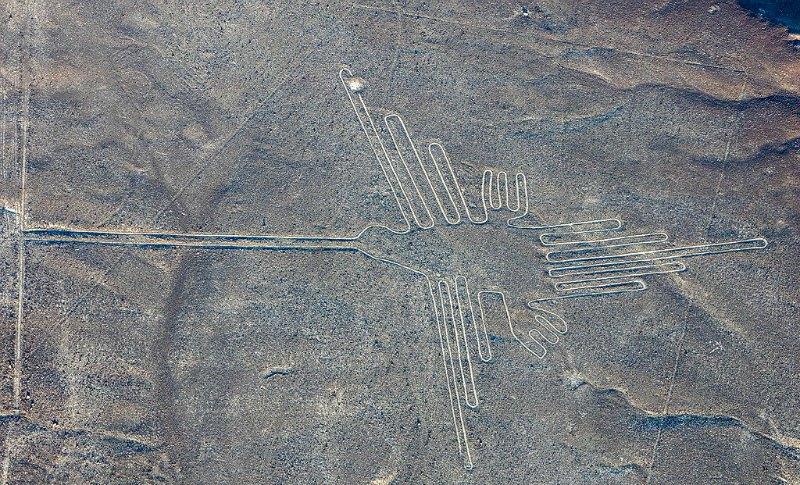 """Hay quien afirma que la única explicación del origen de las líneas de Nazca radica en que nuestros ancestros disponían de la capacidad natural e innata de volar a gran altura. En la imagen, la célebre figura de Nazca denominada """"El Colibrí"""". (Diego Delso/CC-BY-SA 4.0)"""