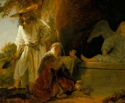 Cristo resucitado y María Magdalena ante el sepulcro en un óleo de Rembrandt. Junto a la Magdalena podemos ver su famoso frasco de alabastro. (Public Domain)