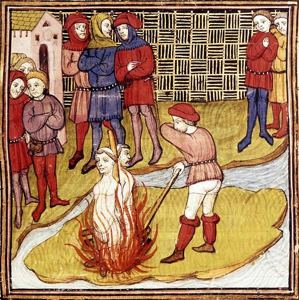 Jacques de Molay sentenciado a la hoguera en 1314, de la Crónica de Francia o de St. Denis. (Public Domain)