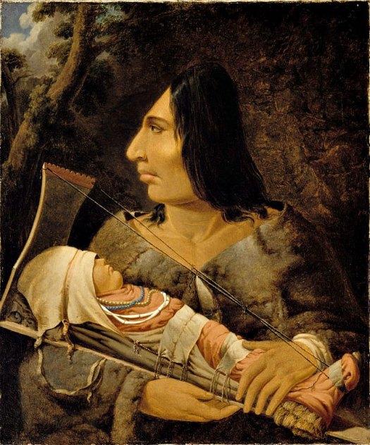 Óleo de Paul Kane (1810-1871) en el que podemos observar a un niño de la cultura Chinook durante el proceso de aplanar su cabeza y a una mujer adulta tras haber sufrido dicho proceso. Museo de Bellas Artes de Montreal, Canadá. (Public Domain)