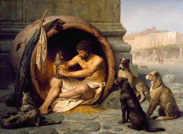 Diógenes en su barril. Pintura de Jean-Léon Gérôme, 1860 (Public Domain)