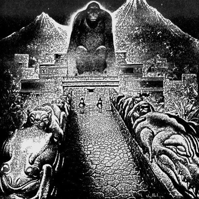 """Dibujo conceptual de la """"Ciudad Perdida del Dios Mono"""" de Theodore Morde, obra del artista Virgil Finlay. Publicado originalmente en la revista The American Weekly, número del 22 de septiembre de 1940. ( Public Domain )"""