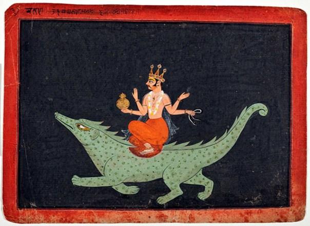 El dios Varuna sobre su montura Makara, 1675-1700, pintura hindú hallada en Bundi, Rajastán (India) y expuesta en el LACMA. (Public Domain)