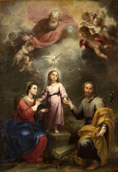 El Espíritu Santo, bajo la forma de una paloma, desciende sobre la Sagrada Familia bajo la atenta mirada de Dios Padre y los ángeles, 'Las dos Trinidades (1679-80), óleo de Bartolomé Esteban Murillo. (Public Domain)