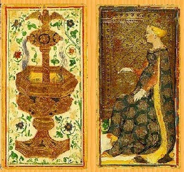 Reproducción de dos cartas de la Baraja Pierpont-Morgan Bérgamo del Tarot Visconti-Sforza, c. 1420. (Public Domain)