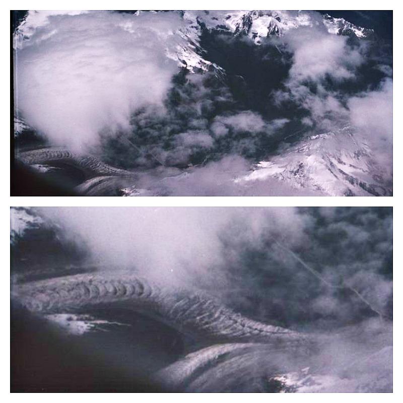 Fotografía (imagen superior) tomada sobrevolando la cordillera del Himalaya el 22 de junio del año 2004 por un fotógrafo que volaba de Lhasa a China. En la esquina inferior izquierda se podría observar a un par de supuestos dragones volando cuyas siluetas se ven mucho mejor en la ampliación (imagen inferior). (Fotografías: La Gran Época)