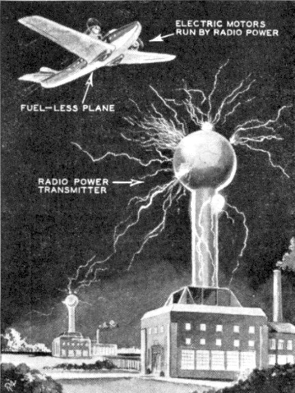 Dibujo especulativo de los transmisores eléctricos inalámbricos ideados por el inventor serbio Nikola Tesla dotando de energía a un aeroplano que no utiliza combustible. Ilustración de una entrevista a Tesla publicada en una revista en el año 1934. (Public Domain)