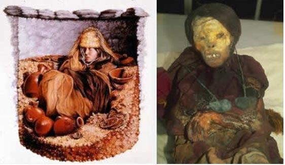 Izquierda: Reconstrucción del posible aspecto del enterramiento original de Momia Juanita. Derecha: Momia Juanita. (Destylou- Historia)