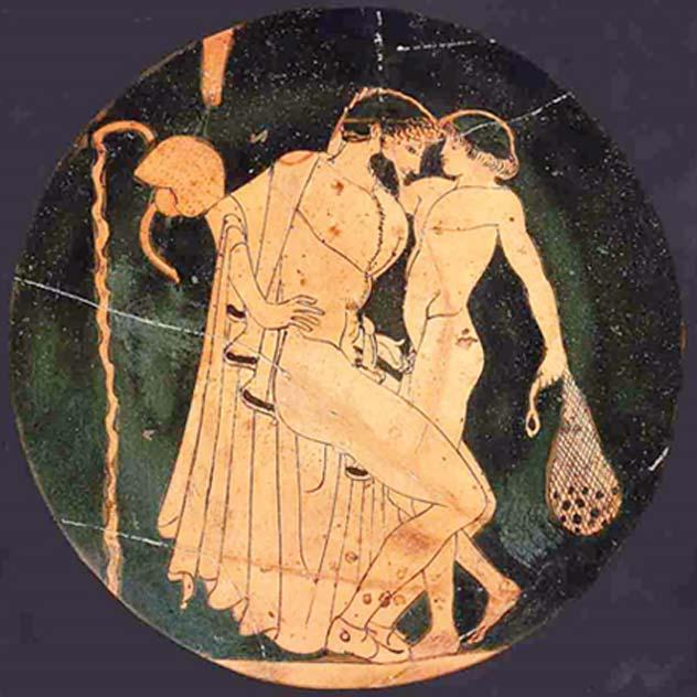 Escena de pederastia en la palestra: un hombre y un joven se disponen a hacer el amor. (Public Domain)