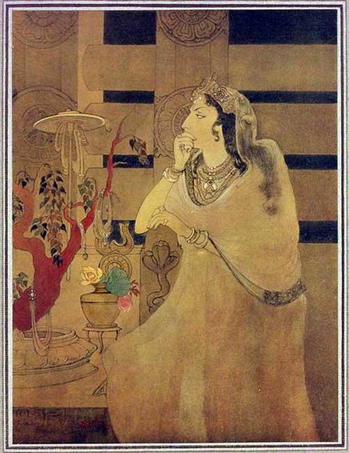 Esposa del emperador Ashoka apoyada en la barandilla, monumento budista de Sanchi. (Public Domain)
