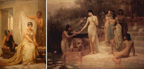 Otras obras de Long: [Izquierda]: 'La reina Esther' (1878) (Public Domain) [Derecha] 'El descubrimiento de Moisés' (1886) (Public Domain)