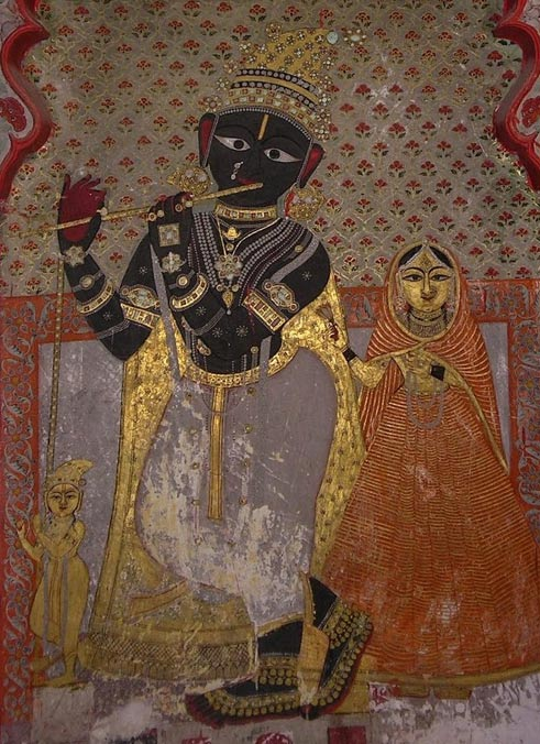 El divino Krishna en un fresco del siglo XVI, Palacio de la Ciudad, Udaipur, Panel 101. Wikimedia Commons