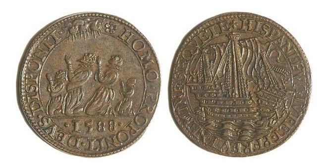 Getón de Dordrecht (Holanda), acuñado en 1588. En él aparece representada la destrucción de la Armada Invencible. ( CC BY SA 3.0 )