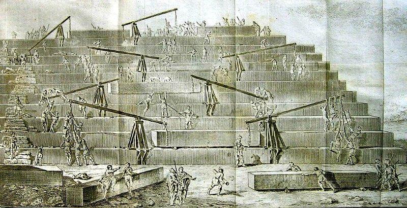 Interpretación, según Antoine-Yves Goguet (1820), de la construcción de la Gran pirámide descrita por Herodoto. (Public Domain)
