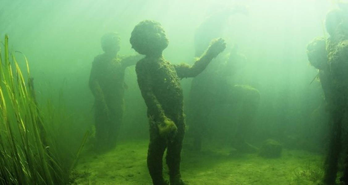 Detalle del grupo escultórico sumergido de Agneta y el Tritón. (Martin Macnaughton/Undervandsitetet)