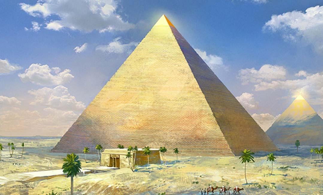 Representación artística de la Gran Pirámide de Guiza con su revestimiento exterior de piedra aún intacto. (Wiki.en.Grepolis.com)