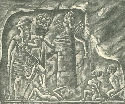 Ishtar/Inanna como diosa guerrera victoriosa, presentando cautivos enemigos ante el rey (Public Domain)