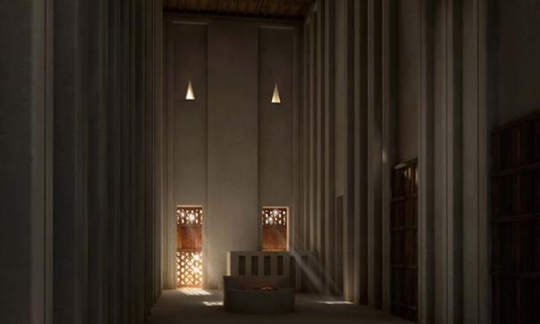 Reproducción de lo que habría sido la vista interior de la versión de dos alturas del Templo Blanco. El conjunto de postes del centro probablemente fuese utilizado como altar. © artefacts-berlin.de. Material científico: Instituto Arqueológico Alemán.
